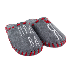 "Women's slippers made of felt Lapti gray ""I'm right"""
