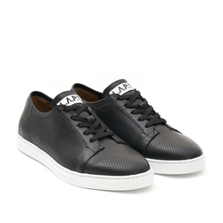 Man's sneakers made of genuine leather Lapti black with perforation
