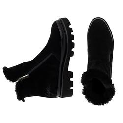 Ботинки женские из натуральной замши и кожи Lapti черные на натуральном меху
