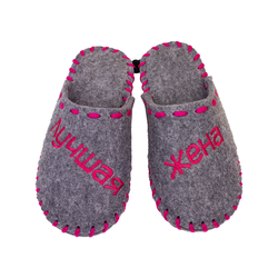 "Women's slippers made of felt Lapti gray ""Best Wife"" embroidery fuchsia"