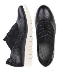 Туфли женские из натуральной кожи и замши Lapti черные с шнуровкой