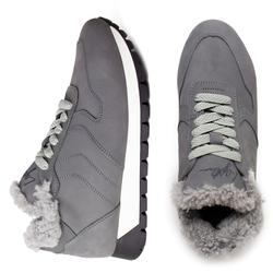 Мужские кроссовки из нубука на меху Lapti серые