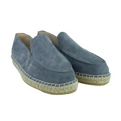 Замшеві сірі лофери-еспадрільі L.A.P.T.I. квадратний носок