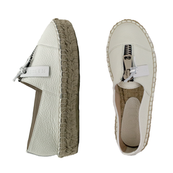Women's espadrilles made of genuine leather Lapti white with zipper on the rise