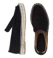 Лофери-еспадрільі жіночі з натуральної замші Lapti чорні з квадратним носком