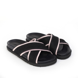 Slippers for women made of textile Lapti black with pink insert