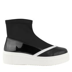Черные слипоны-носки дайвинг кожаный носок_9448 (W)