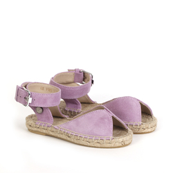 Замшевые розовые сандалии-эспадрильи открытые_9185 (K)