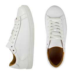 Women's sneakers made of genuine leather classic Lapti white