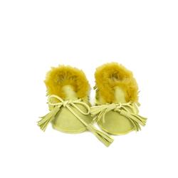 Пинетки на натуральном меху Lapti желтые