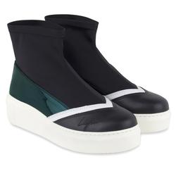 Черные слипоны-носки дайвинг зеленый неон_9448 (W)