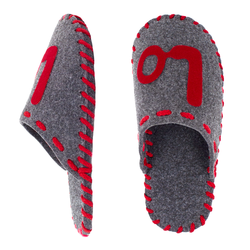 "Women's slippers made of felt Lapti gray with the inscription ""LOVE"""