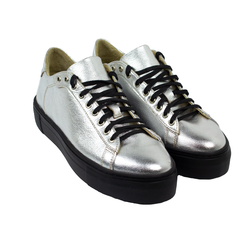 Women's sneakers made of genuine leather Lapti silver