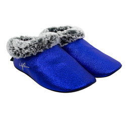 Women's slippers made of glitter Lapti blue with an edge from eco-fur