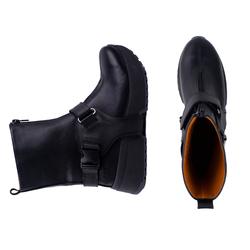 Ботинки женские из натуральной кожи Lapti черные с кожаными ремнями и молнией спереди