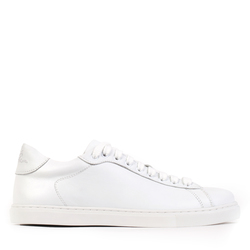 Women's sneakers made of genuine leather Lapti white on a low sole