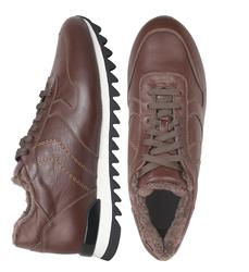Кроссовки мужские из натуральной кожи Lapti коричневые на коричневом меху