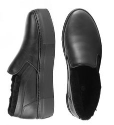 Black leather fur-lined slip-on shoes (W)