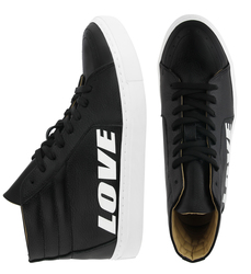 "Women's high sneakers made of genuine leather LAPTIxPOUSTOVIT black print ""LOVE"""