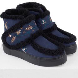 Ботинки женские из натурального нубука Lapti синие на шерсти с широкой лямкой и вышивкой