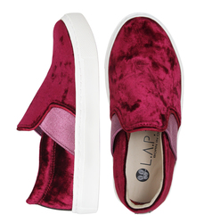 Slip-ons for children made of velvet Lapti burgundy