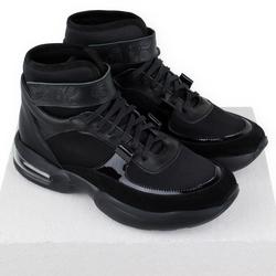 Ботинки-кроссовки женские из натуральной кожи и неопрена Lapti черные
