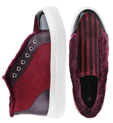 Women's slip-on made of genuine leather Lapti burgundy with black stripes with pony print