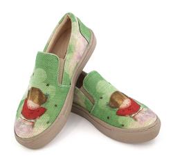Слипоны из ткани зеленые принт девочка Гапчинская (K)