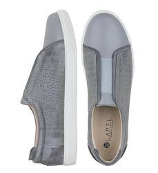Кожаные серые слипоны кроко с резинкой на подъеме (M)