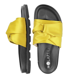 Women's flip-flops made of textile Lapti yellow with bow