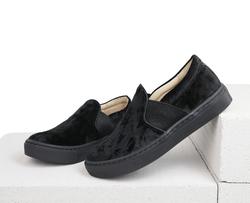 Black velvet slip-on shoes(K)