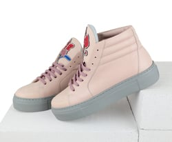 Pink leather high-top sneakers with Flowers embroidery by LAPTIxPOUSTOVIT (W)