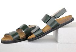 Сандалии мужские из натуральной кожи Lapti  темно-зеленые на липучках