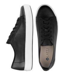 Man's sneakers made of genuine leather Lapti black w/o lining