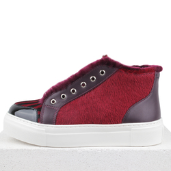 Combined maroon black striped slip-on fur (W)