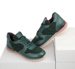 Women's sneakers made of genuine leather and felt Lapti dark green