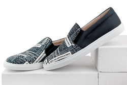 Black and white fabric slip-on shoes MOZGI LAPTI (M)