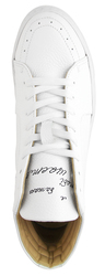 "Women's high sneakers made of genuine leather LAPTIxPOUSTOVIT white embroidery ""HAPPINESS"""