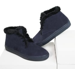 Man's boots made of natural suede Lapti dark blue with a woolen heater