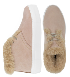 Suede powder slip-on shoes with wool insulation and laces (W)