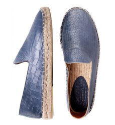 Blue leather loafers with crocodile print
