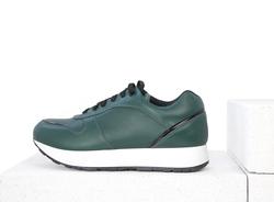 Кожаные зеленые кроссовки с лаковой вставкой (W)