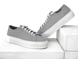 Women's sneakers made of genuine leather Lapti gray without lining