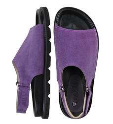 Замшевые фиолетовые сандалии на липучке (W)