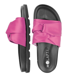 Women's flip-flops made of textile Lapti crimson with bow
