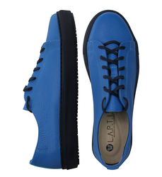 Man's sneakers made of genuine leather Lapti blue w/o lining