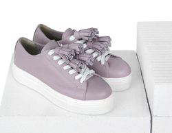 Women's sneakers made of genuine leather Lapti pink without lining