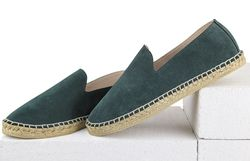 Men's loafers-espadrilles made of natural suede Lapti light dark green