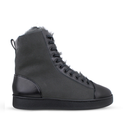 Women's high boots made of genuine leather and fur Lapti gray on fur