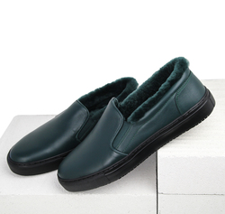 Dark green leather fur-lined slip-on shoes (M)
